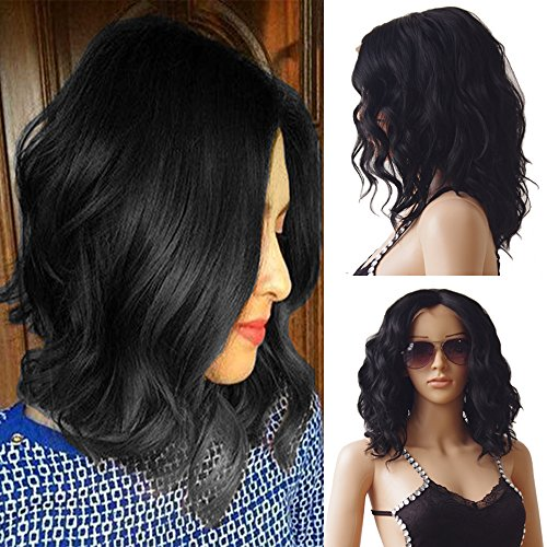 Glueless Lace Front Wigs Mid-Length Loose Synthetic Hair Bob Wig For Women +Free 19eba2b797
