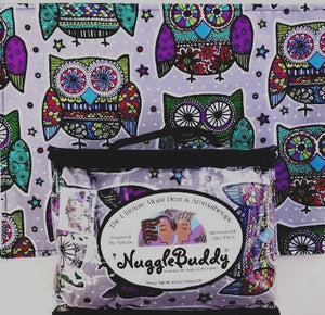'Nugglebuddy Microwavable Moist Heat & Aromatherapy Organic Rice Pack. Bestseller! Owl Mandala Fabric With Spearmint Eucalyptus Aromatherapy.