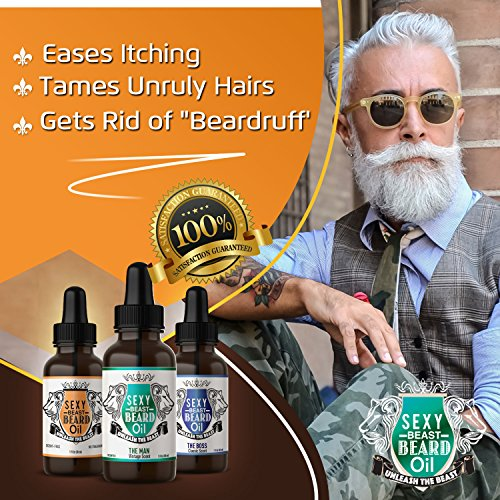 #1 Best Beard Oil For Men - Vintage Scent - Proprietary 9 Oil Blend Stimulates Facial Hair + Beard & Mustache Growth + Repairs Frizzy Hair + Eliminates Dry Itchy Skin For A Thicker Fuller Sexy Beard