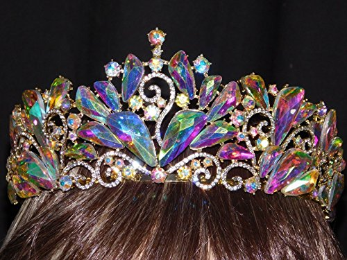 Ab Iridescent Rhinestone Crystal Beauty Queen Large Tiara Crown Bridal Pageant