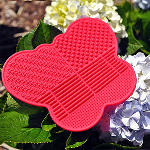 # 1 Silicone Makeup Brush Cleaning Mat -Butterfly Shape Scrubber - Portable Beauty Washing Tool To Extend The Use Of Your Make Up And Art Painting Brushes - Best Cleaner Pad ! (Red)