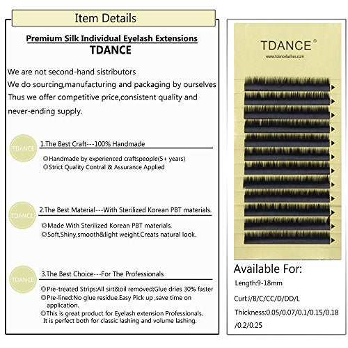 Tdance Premium D Curl 8-18Mm Semi Permanent Individual Eyelash Extensions  0 05-0 25Mm Thickness False Mink Silk Volume Lashes Extensions Professional