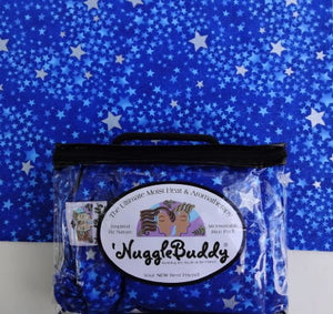 'Nugglebuddy Microwavable Moist Heat & Aromatherapy Organic Rice Pack. Beautiful  Star Fusion  Fabric. Sweet Lavender Aromatherapy!