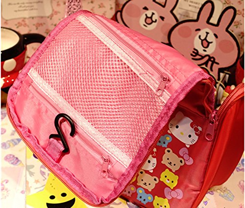7791a6fe08 Finex Red Hello Kitty Toiletry Shower Bag With Hanging Hook Cosmetic Make  Up Organizer Bag For