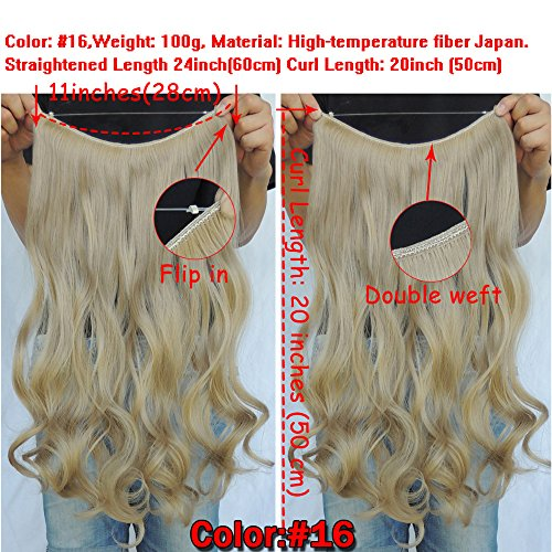 Secret Halo Hair Extensions Flip In Curly Wavy Hair Extension Synthetic Women Hairpieces 20 (Linen Blonde #16)