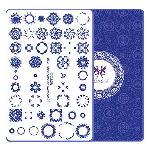 Nail Stamping Plates Kit Cici&Sisi Layered Blue-And-White Series