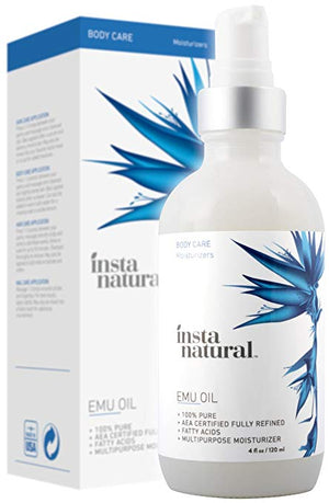 Instanatural Emu Oil - Pure Moisturizer For Strengthened Hair, Stretch Marks, Scars, Joint & Muscle Pain - All In One For Body, Skin, Eyes, Face & Nails - Essential Product For Beauty - 4 Oz