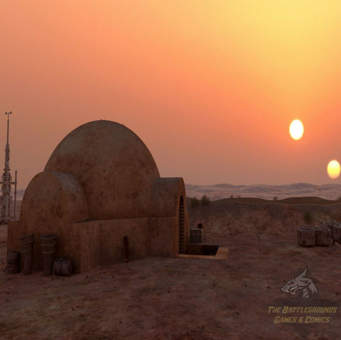 "1/6th Scale STAR WARS TATOOINE SUNSET 15""x15"" Diorama Backdrop"
