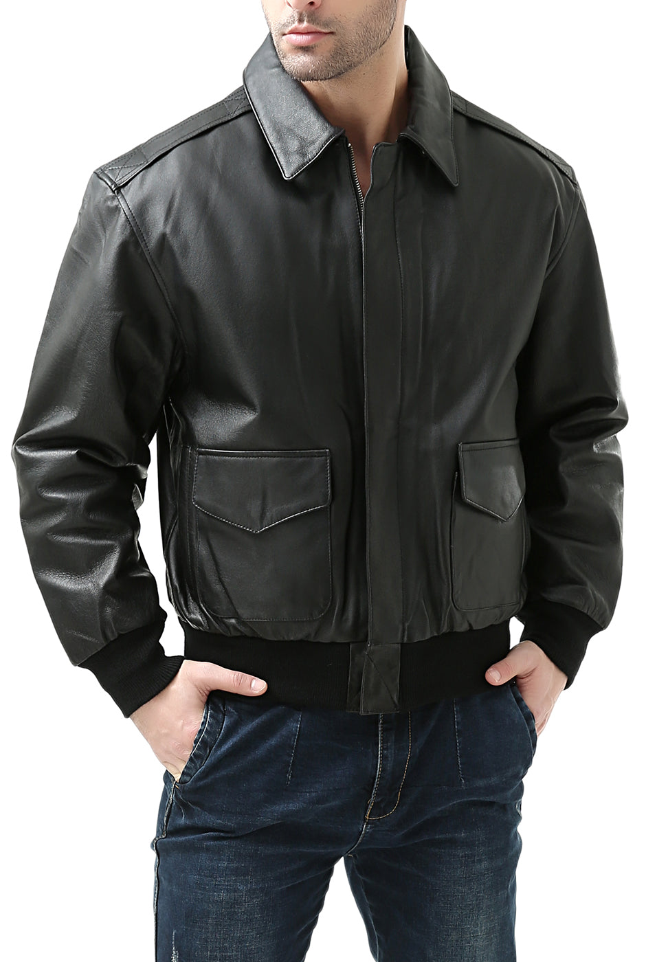 Aviator Air Force Brown Jackets for Men with Real Fur Collar Mens A-2 Flight Bomber Leather Jacket Black