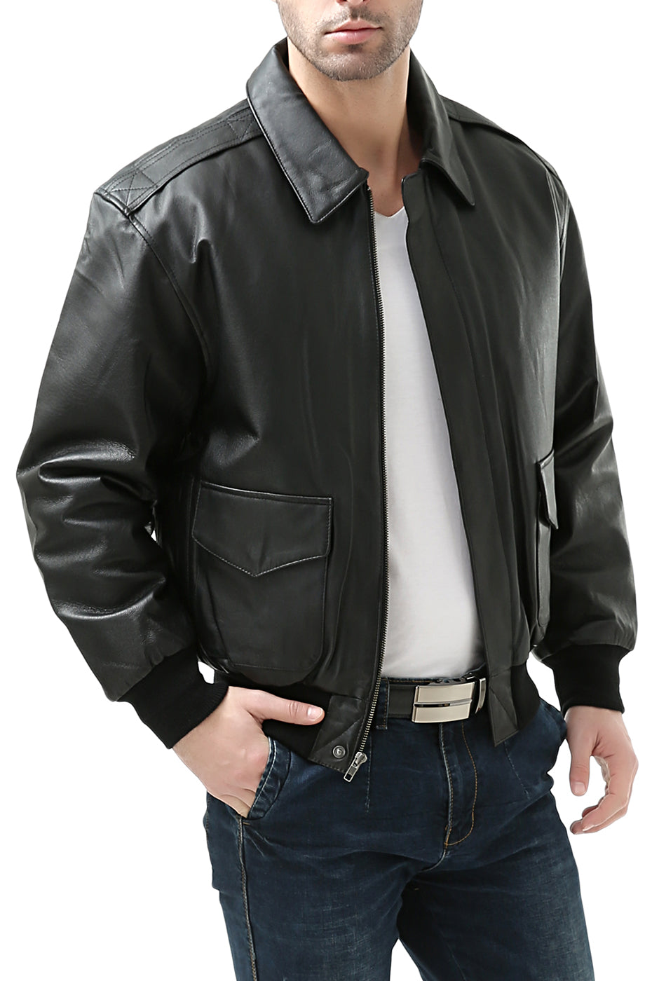 Men/'s Air Force A-2 Leather Flight Bomber Jacket