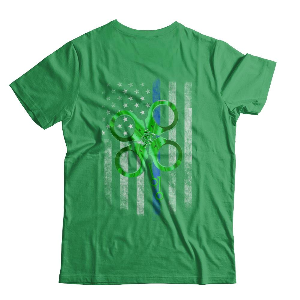 c98f10c86d6 Thin Blue Line Happy St Patrick's Day Clover Police T-Shirt & Hoodie Apatee.