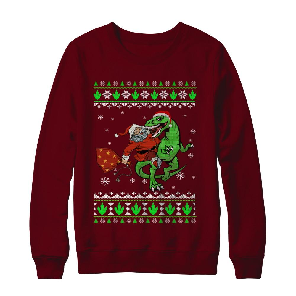 T Rex Ugly Christmas Sweater.Santa Riding Dinosaur T Rex Ugly Christmas Sweater