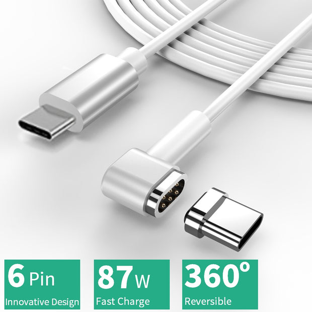 magnetic cable, white background, text saying 6 pin innovative design 87w fast charge 360 reversible