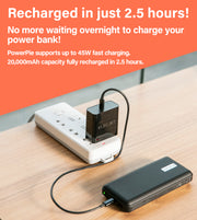 Power bank plugged into outlet, description text Recharged in 2.5 Hours, No more waiting overnight to charge your power bank powerpie Supports up to 45W fast charging 20,000mAh capacity fully charged in 2.5 hours