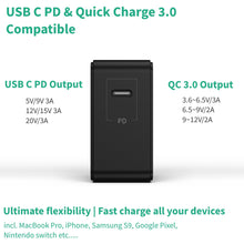 Load image into Gallery viewer, 60W USB Type C Charger | USB C PD & QC 3.0 Compatible