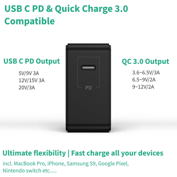 60W USB Type C Charger | USB C PD & QC 3.0 Compatible
