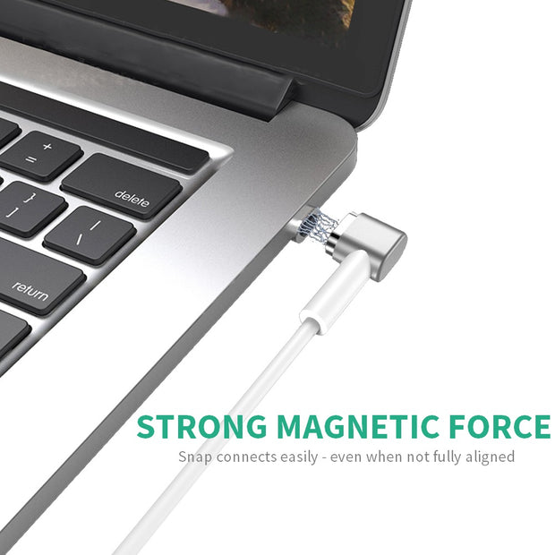 macbook with magnetic charger, text says Strong Magnetic Force, Snap connects easily - Even when not fully aligned