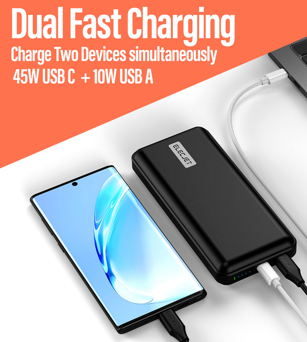 Power bank plugged into phone and Laptop, descriptive image text Duel Fast Charging Charge Two Devices Simultaneously 45w USB C + 10W USB A