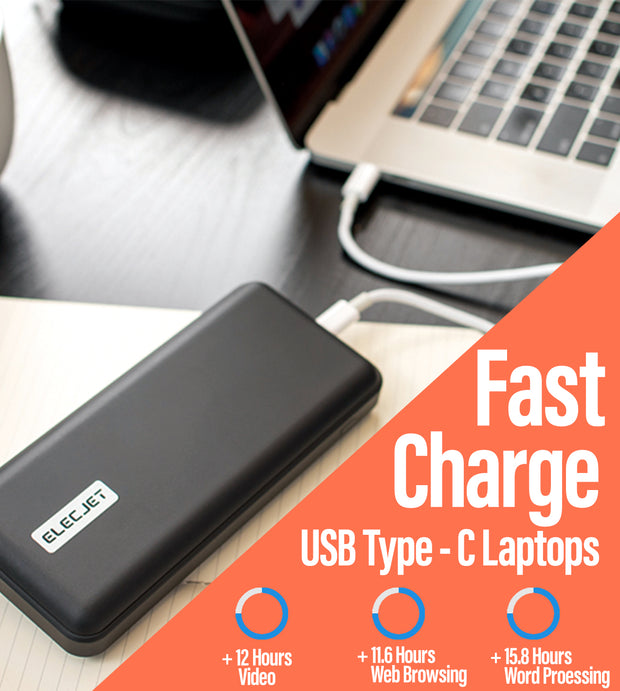 Power bank on table plugged into Laptop, Description showing speed of power bank for Laptop Chargiing Text says Fast Charge USB Type-C Laptopns +12 hours of video +11.6 Hours web browsing +15.8 Hours of work processing