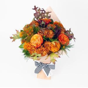 Persephone flower bouquet - fall bouquet of orange, red, and bronze flowers