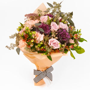 Maeve bouquet from Hedonia Flowers - A bouquet of premium mauve, peach, and plum flowers