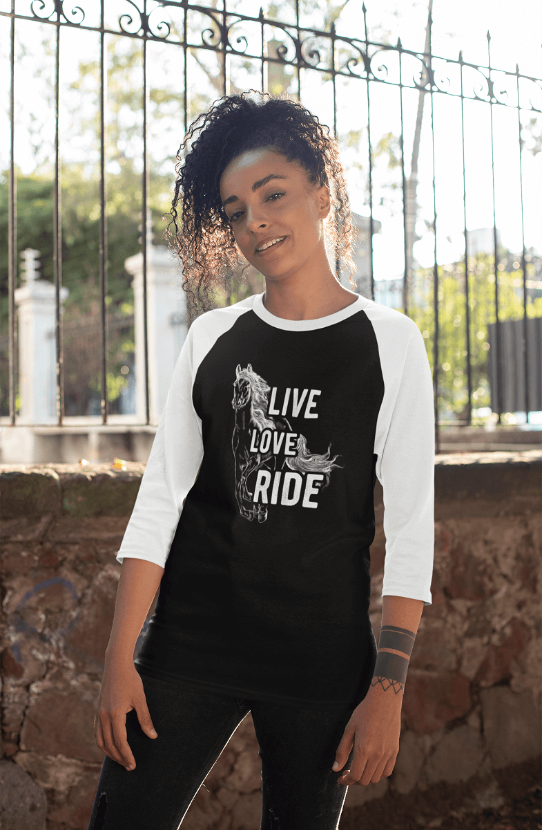 """Live Love Ride"" Unisex Raglan Shirt"