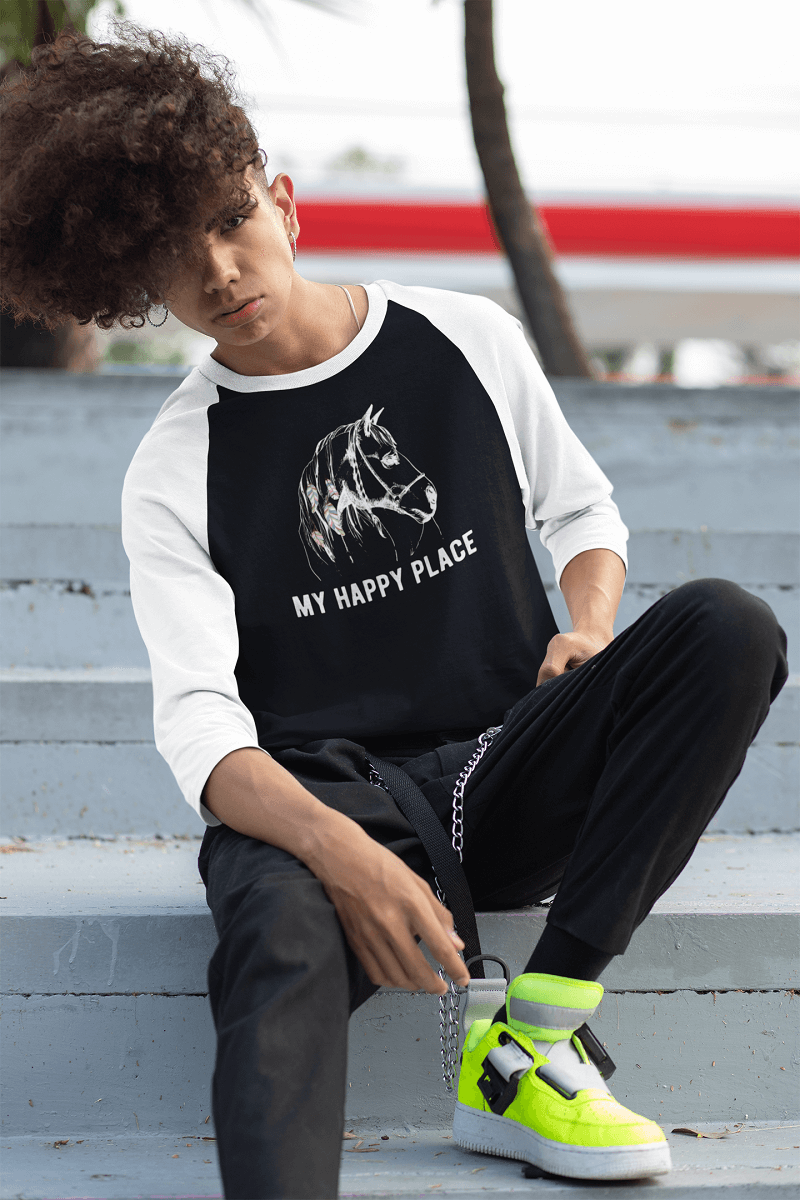 """My Happy Place"" Unisex Raglan Shirt"