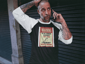 """Warning"" Unisex Raglan Shirt"