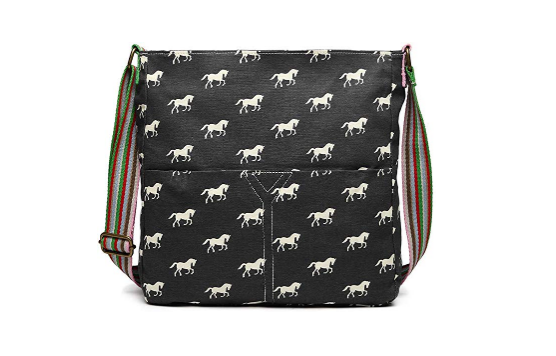 Canvas Horse Print Shoulder Bag