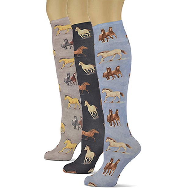Equestrian Design Knee High Trouser Socks 3 Pack