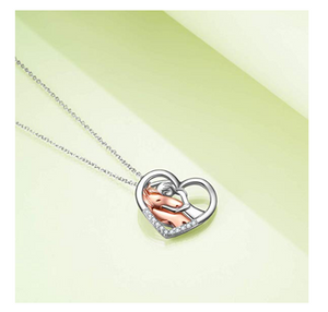 "18"" Sterling Silver Horse With Girl Heart Necklace"