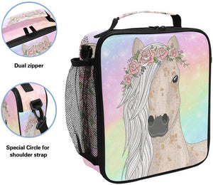 Rainbow Floral Horse Insulated Lunch Bag