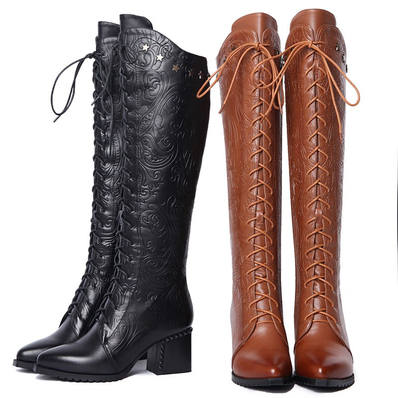 Genuine Leather Women's Riding Boots
