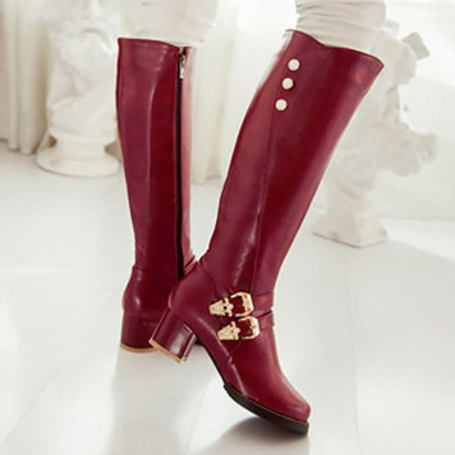 Crystal Buckle Knee High Riding Boots
