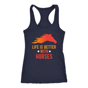 """Life Is Better With Horses"" Women's Racerback Tank Top"