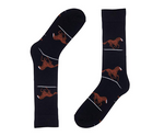 Horse Design Black Dress Socks For Men