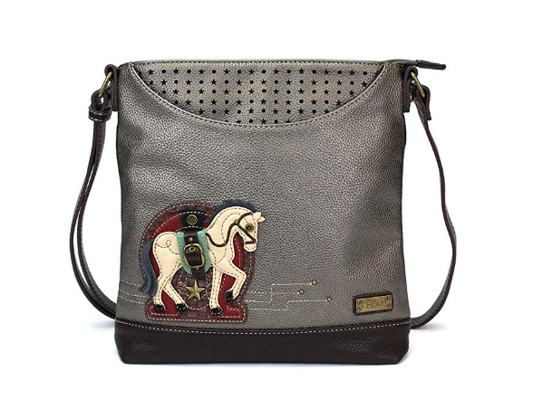 Faux Leather Horse Messenger Tote Bag