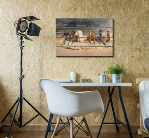 Galloping Horses Vintage Style Canvas Wall Art