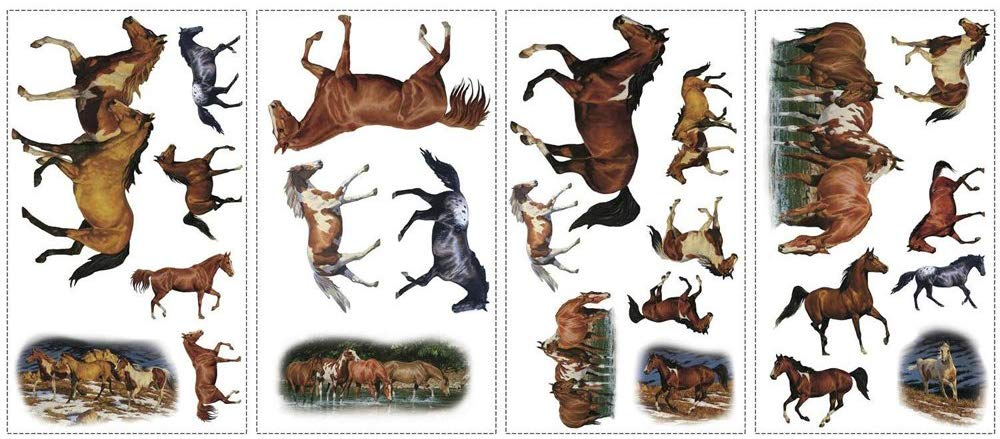 Peel & Stick Wild Horse Wall Decals, Set of 24