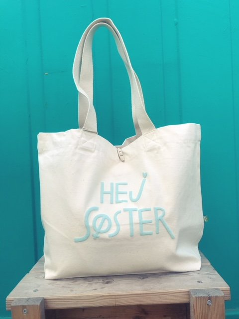 Hej Søster Canvas Shopper Blue Puff Print XL