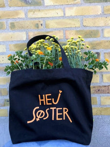 Hej Søster Canvas Shopper Black/Orange Print M