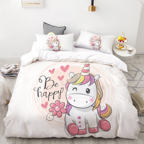Be Happy Unicorn Quilt Cover Single Set - Unicornia