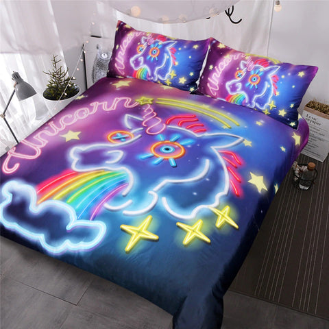 Luminous Unicorn Quilt Cover Queen Set - Unicornia