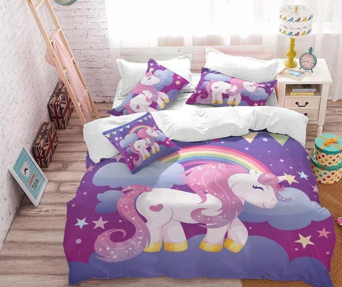 Magic Rainbow Unicorn Quilt Cover Queen Set - Unicornia