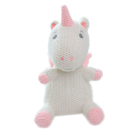 Knitted White Unicorn Toy - Unicornia
