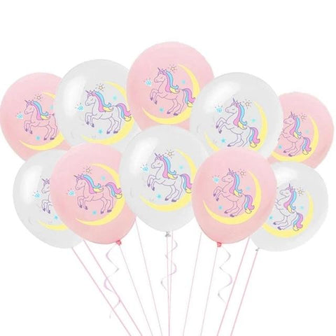 White and Pink Moonlight Unicorn Party Balloons - Unicornia