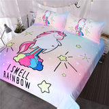 I Smell Rainbow Unicorn Quilt Cover Single Set - Unicornia