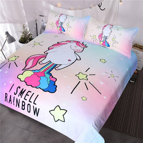 I Smell Rainbow Unicorn Quilt Cover Queen Set - Unicornia