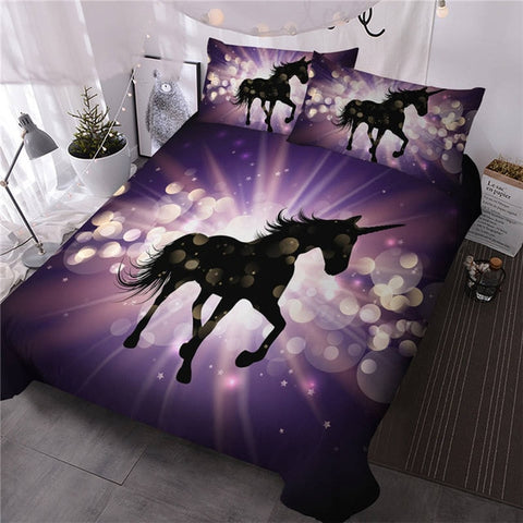 Million Galaxy Star Unicorn Quilt Cover Single Set - Unicornia
