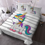 Multi Color Unicorn Quilt Cover Double Set - Unicornia